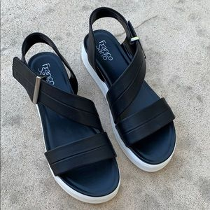 Franco Sarto Black Kobe Platform Sandals Size 10